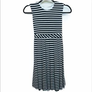 Neiman Marcus Helena striped dress with pleats